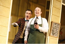 THE ELIXIR OF LOVE (L^ELISIR D^AMORE)   by Donizetti   conductor: Tecwyn Evans   director: Daniel Slater<br>,l-r: Peter Savidge (Dulcamara), Andrew Kennedy (Nemorino),Opera North / Leeds, England...
