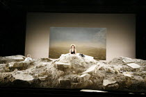 HAPPY DAYS (OH LES BEAUX JOURS)   by Samuel Beckett   director: Deborah Warner   set design: Tom Pye   lighting design: Jean Kalman <br>,left: Tim Potter (Willie)   centre: Fiona Shaw (Winnie),Lyttelt...