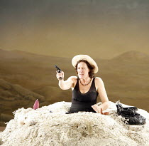 HAPPY DAYS (OH LES BEAUX JOURS)   by Samuel Beckett   director: Deborah Warner   ,set design: Tom Pye   lighting design: Jean Kalman <br>,Fiona Shaw (Winnie),Lyttelton Theatre / National Theatre, Lond...