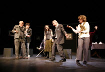 SIT AND SHIVER   written & directed by Steven Berkoff <br>,l-r: Steven Berkoff (Lionel), Russell Bentley (Mike), Leila Crerar (Sylv), Frank Lazarus (Morris), Bernice Stegers (Betty),Hackney Empire, Lo...