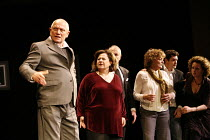 SIT AND SHIVER   written & directed by Steven Berkoff <br>,l-r: Steven Berkoff (Lionel), Sue Kelvin (Debby), (obscured) Frank Lazarus (Morris), Bernice Stegers (Betty), Russell Bentley (Mike), Catheri...