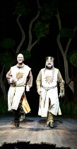 Monty Python^s SPAMALOT   book & lyrics: Eric Idle   music: John Du Prez & Eric Idle   ,director: Mike Nichols <br>,l-r: David Birrell (Patsy), Simon Russell Beale (King Arthur),Palace Theatre, London...