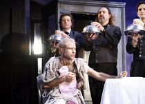 THE TAMING OF THE SHREW   by Shakespeare   director: Edward Hall <br>,front: Simon Scardifield (Katharine),Propeller / Old Vic Theatre, London SE1                    17/01/2007,