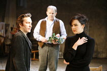 UNCLE VANYA   by Chekhov   adapted by David Mamet   director: Hugh Fraser <br>,l-r: Ronan Vibert (Astrov), Colin Stinton (Vanya), Rachael Stirling (Yelena),Wilton^s Music Hall, London E1...