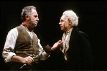 PEER GYNT by Henrik Ibsen in a translation by David Rudkin  design: Chris Dyer  lighting: Leo Leibovici  director: Ron Daniels <br>~l-r: Nigel Hawthorne (The Buttonmoulder), Derek Jacobi (Peer Gynt)~R...