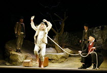 'WAITING FOR GODOT' (Beckett)~l-r: David Ganly (Estragon), John Cormack (Lucky), Paul McCleary (Vladimir), (seated) Gerard Murphy (Pozzo)~Theatre Royal, Northampton                    20/02/2003