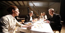 THE WILD DUCK   by Ibsen   in a new version by David Eldridge   director: Michael Grandage,l-r: Michelle Fairley (Gina Ekdal), Nicholas Le Prevost (Relling), Sin�ad Matthews (Hedvig), Paul Hilton (Hja...