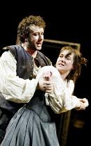 'THE TAMING OF THE SHREW' (Shakespeare)~Jasper Britton (Petruchio), Alexandra Gilbreath (Katherine)~Royal Shakespeare Company / Royal Shakespeare Theatre, Stratford-upon-Avon            09/04/2003