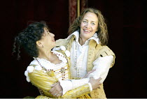THE TAMING OF THE SHREW  by Shakespeare  Master of Costumes & Properties (designer): Jenny Tiramani  Master of Play (director): Phyllida Lloyd ~l-r: Kathryn Hunter (Katherina), Janet McTeer (Petruchio...