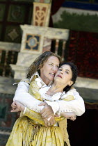THE TAMING OF THE SHREW  by Shakespeare  Master of Costumes & Properties (designer): Jenny Tiramani  Master of Play (director): Phyllida Lloyd ~l-r: Janet McTeer (Petruchio), Kathryn Hunter (Katherina...