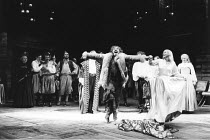 THE TAMING OF THE SHREW   by Shakespeare   director: Barry Kyle,front: Geoffrey Freshwater (Sly), Sinead Cusack (Katherine),Royal Shakespeare Company / Royal Shakespeare Theatre, Stratford-upon-Avon...