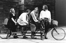 THE TAMING OF THE SHREW   by Shakespeare - director: Barry Kyle, IV/v - on the road to Padua - l-r: Sinead Cusack (Katherina), Ian Talbot (Hortensio), Pete Postlethwaite (Grumio), Alun Armstrong (Petr...