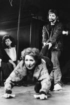 THE TAMING OF THE SHREW   by Shakespeare   design & direction: Ultz,centre: Susan Cox (Katherina)   rear right: Fiona Victory (Petruchio),Theatre Royal, Stratford East   London E15               11/03...