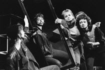 THE TAMING OF THE SHREW   by Shakespeare   design & direction: Ultz,Petruchio looking in mirror - l-r: Fiona Victory (Petruchio), Ann Miles, Primula Cotton,Theatre Royal, Stratford East   London E15...