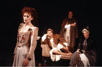 THE TAMING OF THE SHREW   by Shakespeare - director: Di Trevis <br>~l-r: Sian Thomas (Katharina), Michael Troughton (Christopher Sly), Edward Harbour (Lord), Paul McCleary (Bartholomew),~Royal Shakesp...