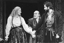 THE TAMING OF THE SHREW   by Shakespeare - director: Toby Robertson,l-r: Vanessa Redgrave (Katherina), Gerald James (Baptista), Timothy Dalton (Petruchio),Theatre Royal Haymarket, London SW1...