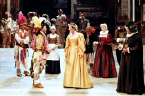 'THE TAMING OF THE SHREW' (Shakespeare)~front centre: Brian Cox (Petruchio), Fiona Shaw (Katherine)~Royal Shakespeare Company / Barbican Theatre, London                   1988