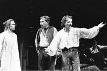 THE TAMING OF THE SHREW   by Shakespeare    design: Tim Goodchild  director: Bill Alexander <br>  ~l-r: Amanda Harris (Katherine), Geoffrey Freshwater (Grumio), Anton Lesser (Petruchio) ~Royal Shakesp...