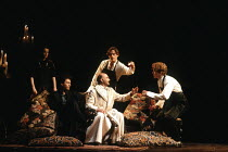 THE TAMING OF THE SHREW  by Shakespeare  design: Tim Goodchild  director: Bill Alexander <br>  ~seated centre: Paul Webster (Gremio) ~Royal Shakespeare Company (RSC), Royal Shakespeare Theatre, Stratf...