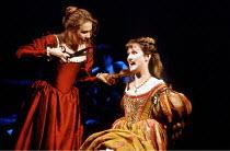 THE TAMING OF THE SHREW  by Shakespeare  design: Tim Goodchild  director: Bill Alexander <br>~l-r: Amanda Harris (Katherine), Rebecca Saire (Bianca) ~Royal Shakespeare Company (RSC), Royal Shakespeare...
