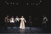 THE TAMING OF THE SHREW  by Shakespeare  design: Tim Goodchild  director: Bill Alexander <br>~left: Anton Lesser (Petruchio)   centre: Paul Webster (Gremio)   right: John McAndrew (Lucentio) ~Royal Sh...