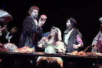 THE TAMING OF THE SHREW   by Shakespeare - director: Gale Edwards,IV/i: Michael Siberry (Petruchio), Josie Lawrence (Katherina),Royal Shakespeare Company / Barbican Theatre   London EC2      04/1996,