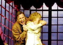 PRIVATE LIVES by Noel Coward  set design: Tim Hatley  costumes: Jenny Beavan  lighting: Peter Mumford  director: Howard Davies ~Alan Rickman (Elyot), Lindsay Duncan (Amanda)~Albery Theatre, London WC2...