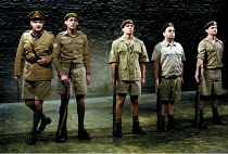 'PRIVATES ON PARADE' (Nichols)~l-r: , Malcolm Sinclair (Major Giles Flack), Daniel Tuite (Leading Aircraftman Eric Young-Love), Nigel Harman (Flight Sergeant Kevin Cartwright), ~Hugh Sachs (Lance Corp...