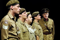 'PRIVATES ON PARADE' (Nichols)~l-r: Daniel Tuite (Leading Aircraftman Eric Young-Love), Nigel Harman (Flight Sergeant Kevin Cartwright), ~Hugh Sachs (Lance Corporal Charles Bishop), Justin Salinger (C...