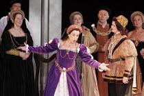 'ANNA BOLENA' (Donizetti - conductor: Alexander Ingram   director: Tom Hawkes   design: Peter Rice),front centre: Hannah Francis (Anna Bolena/Anne Boleyn)   right: Harriet Williams (Smeton/Mark Smeato...