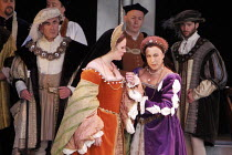 'ANNA BOLENA' (Donizetti - conductor: Alexander Ingram   director: Tom Hawkes   design: Peter Rice),front centre, l-r: Jennifer Johnston (Giovanna Seymour/Jane Seymour), Hannah Francis (Anna Bolena/An...