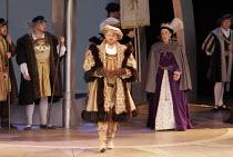 'ANNA BOLENA' (Donizetti - conductor: Alexander Ingram   director: Tom Hawkes   design: Peter Rice),centre: Charles Johnston (Enrico VIII/Henry VIII)   rear right: Hannah Francis (Anna Bolena/Anne Bol...