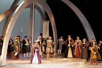 'ANNA BOLENA' (Donizetti - conductor: Alexander Ingram   director: Tom Hawkes   design: Peter Rice),front left: Hannah Francis (Anna Bolena/Anne Boleyn)   centre: Charles Johnston (Enrico VIII/Henry V...