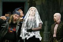 'ARIADNE AUF NAXOS' (Strauss)~l-r: Jeremy White (Truffaldino), Timothy Robinson (Scaramuccio), Petra Lang (Ariadne), Barry Banks (Brighella)~The Royal Opera / Covent Garden, London WC2...