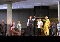 'ARIADNE AUF NAXOS' (Richard Strauss   conductor: Colin Davis   director: Christof Loy)~centre, l-r: Susan Graham (Composer), Christoph Quest (The Major Domo), John Graham Hall (Dancing Master)~The Ro...