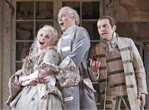 'THE BARBER OF SEVILLE' (Rossini - conductor: Dominic Wheeler   original director: Jonathan Miller),l-r: Alison Roddy (Rosina), Charles Workman (Count Almaviva), Mark Stone (Figaro),English National O...