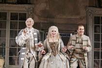 'THE BARBER OF SEVILLE' (Rossini - conductor: Dominic Wheeler   original director: Jonathan Miller),l-r: Charles Workman (Count Almaviva), Alison Roddy (Rosina), Mark Stone (Figaro),English National O...