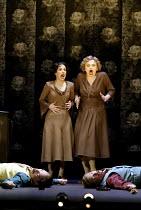 'COSI FAN TUTTE' (Mozart)~the sisters with their 'dead' suitors - l-r: Mary Plazas (Dorabella), Susan Gritton (Fiordiligi)~Christopher Maltman (Guglielmo), Toby Spence (Ferrando)~English National Oper...