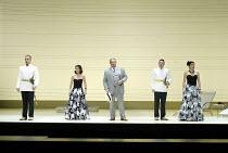 'COSI FAN TUTTE' (Mozart - director: Samuel West)~l-r: Toby Stafford-Allen (Guglielmo), Mary Plazas (Fiordiligi), Andrew Shore (Don Alfonso), Colin Lee (Ferrando), Victoria Simmonds (Dorabella)~Englis...