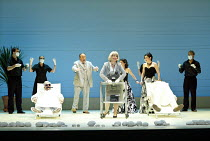 'COSI FAN TUTTE' (Mozart - director: Samuel West)~the 'doctor' revives the lovers - l-r: Colin Lee (Ferrando), Andrew Shore (Don Alfonso),  Alison Roddy (Despina/'doctor'), ~Mary Plazas (Fiordiligi/pa...