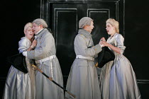 'COSI FAN TUTTE' (Mozart - conductor: Yves Abel   director: Tim Albery),Act 1 - the lovers part, l-r: Ann Taylor (Dorabella), Iain Paton (Ferrando), Roderick Williams (Guglielmo), Malin Bystr�m (Fiord...