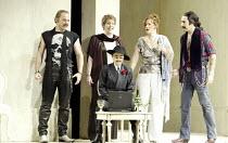 'COSI FAN TUTTE' (Mozart - conductor: Stphane Denve   director: Jonathan Miller)~l-r: Christopher Maltman (Guglielmo), Kristine Jepson (Dorabella), (seated) Nuccia Focile (Despina), Catherine Naglesta...