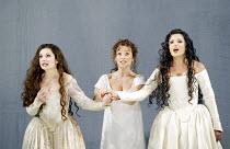 'DON GIOVANNI' (Mozart - director: Francesca Zambello   design: Maria Bjrnson   lighting: Paul Pyant)~Act II- l-r: Nuccia Focile (Donna Elvira), Rosemary Joshua (Zerlina), Anna Netrebko (Donna Anna)~T...