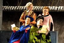 'FALSTAFF' (Verdi)~the ladies compare Falstaff's letters - l-r: (front) Yvonne Kenny (Mistress Alice Ford), Alice Coote (Mistress Meg Page)~(rear) Rebecca de Pont Davies (Mistress Quickly), Susan Grit...