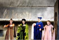 'FALSTAFF' (Verdi)~l-r: Rebecca de Pont Davies (Mistress Quickly), Alice Coote (Mistress Meg Page), Yvonne Kenny (Mistress Alice Ford), Susan Gritton (Nannetta)~English National Opera, London Coliseum...