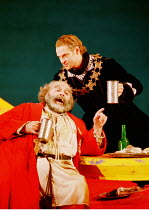 'FALSTAFF' (Verdi)~(seated) Paolo Gavanelli (Sir John Falstaff), Simon Keenlyside (Ford)~The Royal Opera, London WC2  12/01/2001
