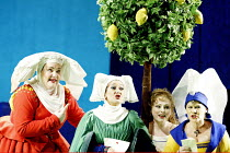 'FALSTAFF' (Verdi)~l-r: Stephanie Blythe (Mistress Quickly), Marie McLaughlin (Mrs Meg Page), Rebecca Evans (Nannetta), Soile Isokoski (Mrs Alice Ford)~The Royal Opera / Covent Garden, London WC2...