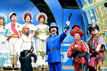 'THE PIRATES OF PENZANCE' (Gilbert & Sullivan)~front, l-r: Gary Wilmot (The Pirate King), Giles Taylor (Sergeant), Su Pollard (Ruth), Mark Roper (Samuel)~Open Air Theatre/Regent's Park, London NW1...
