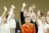 'THEODORA' (Handel)   (director: Peter Sellars)~centre (front): Susan Gritton (Theodora)   (rear) Lorraine Hunt-Lieberson (Irene)~Glyndebourne Festival Opera / East Sussex, England     10/08/2003