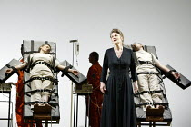 'THEODORA' (Handel)   (director: Peter Sellars)~centre: Lorraine Hunt-Lieberson (Irene) with (on execution stretchers) Susan Gritton (Theodora) and Robin Blaze (Didymus)~Glyndebourne Festival Opera /...